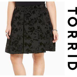 Torrid Burnout Velvet Pleated Skater Skirt Size 1